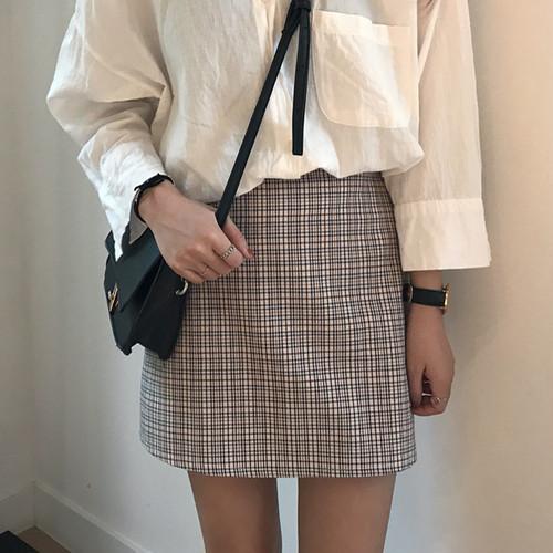 チェックスカート ミニ チェック スカート 柄 グレン ベーシック 薄手 秋 新作 セール