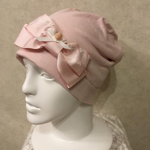 ハートのリボンのケア帽子 ピンク