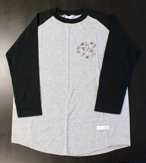 171008ラグランTシャツ(グレー×ブラックS1)