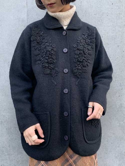 (TOYO) embroidery knit jacket