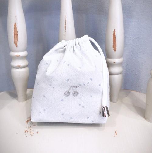 入園、入学 送料込み!⑤巾着袋 コップ入れ キラキラ星 ホワイト