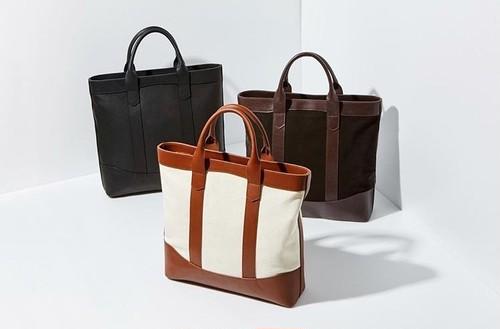 D.Lトートバッグ 本革 牛革×キャンバス ブラウン A4やマックブック15インチも入るおしゃれなビジネスバッグ 日本未発売