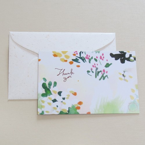 ガーデン:mini size 『 Thank you 』postcard & envelope