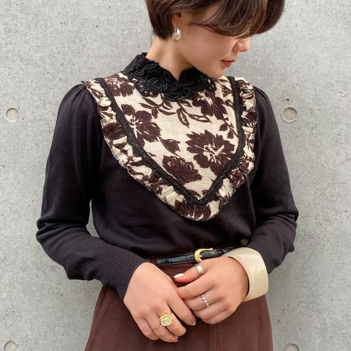 (PAL) flower pattern bib collar knit tops