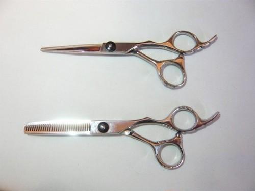 美容師専用カットシザー&セニングシザー2点セット/各5.5インチ/黒ねじタイプ