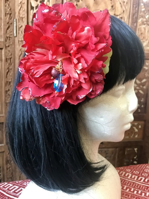 Flower hair ornament-Red2
