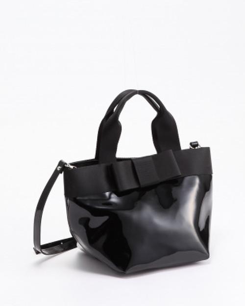 DRESドレス   エナメルリボン付トートバッグS/ブラック