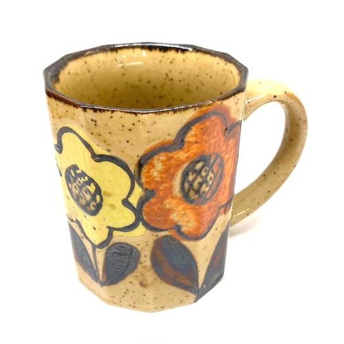 オレンジと黄色の花のマグカップ(SA287)
