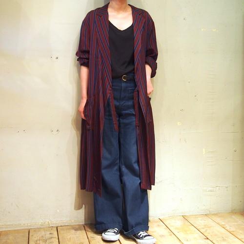 【hippiness】stripe cupro coat(Wine×Navy)/【ヒッピネス】ストライプ キュプラ コート(ワイン×ネービー)