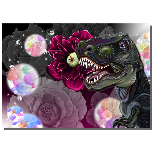 T-Rex and flower