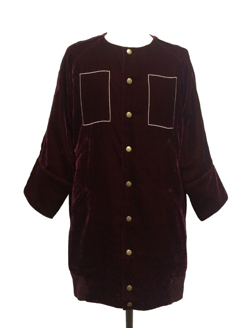RECTANGLE VELVET EIGHT SLEEVE BLOUSON -BURGUNDY-