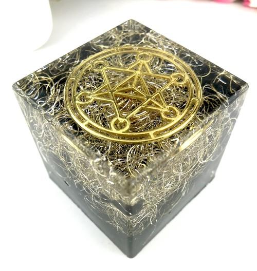 オルゴナイトキューブ★モリオン(黒水晶)☆メタトロンキューブ