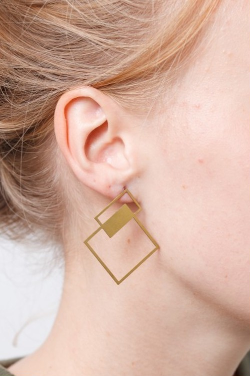 ◇STATE OF A◇ Stud Earring lasered Square(Item No 11957)