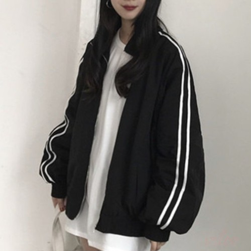 【アウター】売れ切れ長袖折り襟ジッパーストライプ柄ジャケット