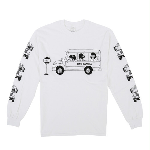 One Family Co.×0867 / Long Sleeve T-Shirt / School Bus / White