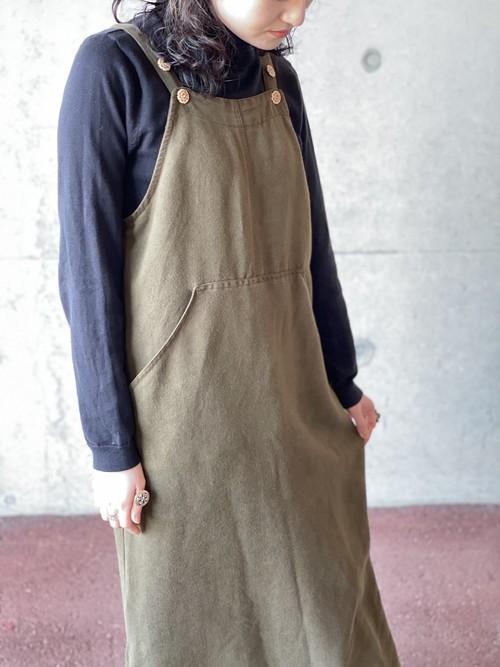 Vintage Olive Color Salopette Skirt Made In USA