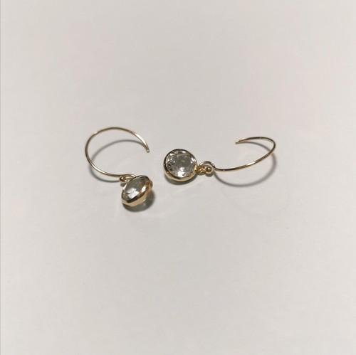 White topaz 14kgf earrings