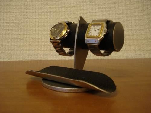 腕時計スタンド どっしりちょっと太めのパイプブラックコルク腕時計スタンド No.12320-5