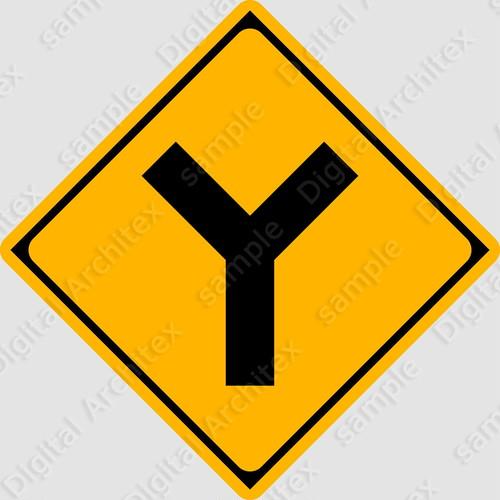 【イラスト】Y形道路交差点ありの 交通標識