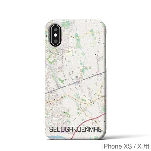 【成城学園前】地図柄iPhoneケース(バックカバータイプ・ナチュラル)