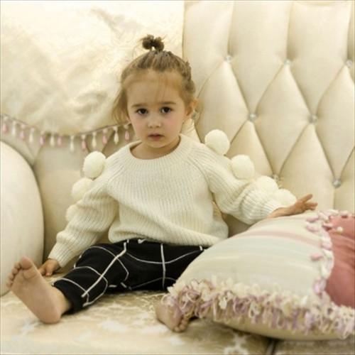 新作 女の子 毛玉付ニット セーター 長袖 ニットウェア 無地 ジュニア ショート丈 トップス キッズ 子供服   m8127-c9042-hbfs-g