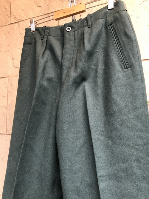 Old German military green wool trousers