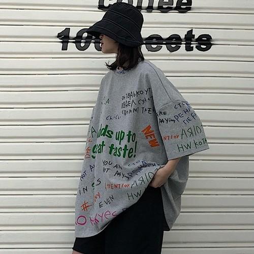 【トップス】カジュアル個性派アルファベット落書きプラスサイズ半袖Tシャツ