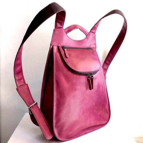 「紅紫(こうし)色」フルレザー 街歩きリュック