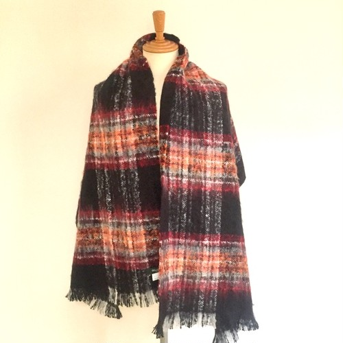 Mohair Check Stole Black