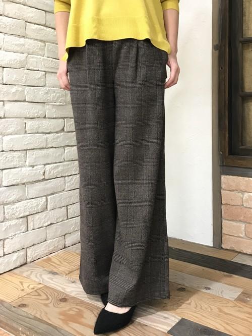 クロッシェ☆チェックワイドパンツ(ブラウン系)