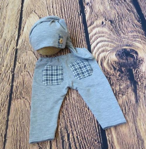 チェックとクールグレーの男の子衣装&枕set