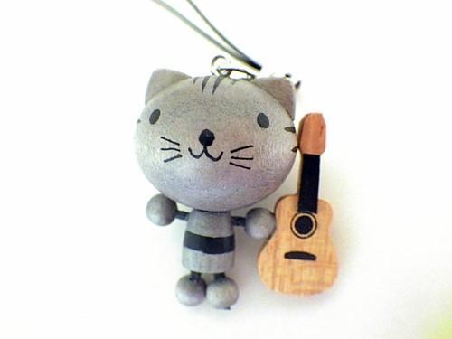 木製ストラップ ねことギター