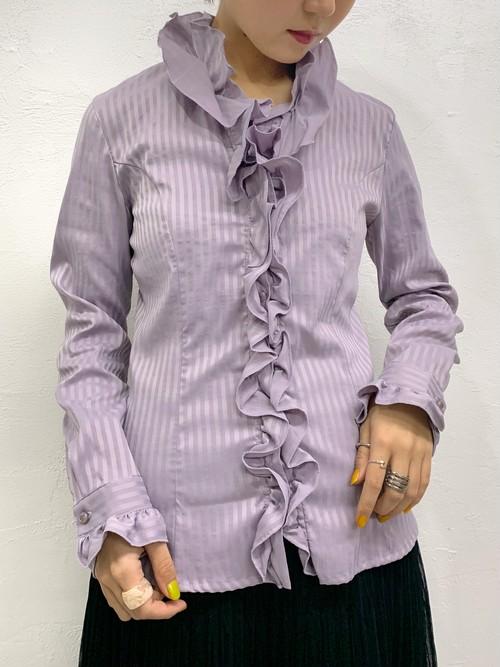 (TOYO) stripe pattern l/s frill blouse