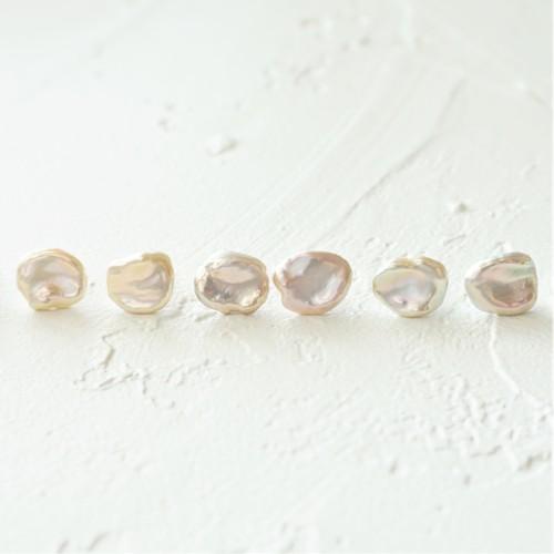 14kgf*Freshwater Pearls stud pierced earring PNK