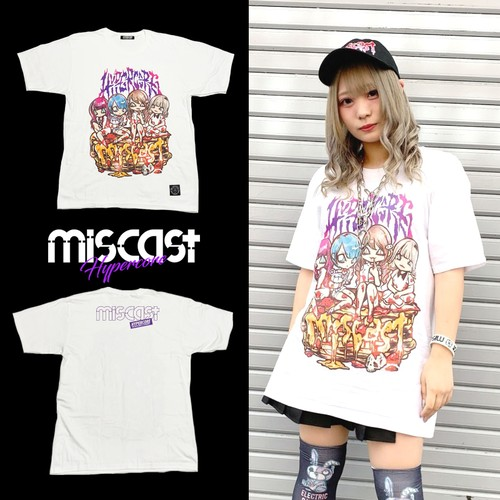 "MIS-01 miscast × HYPER COREコラボレーション""miscast on the BLOODY PANCAKE""Tシャツ(白)"