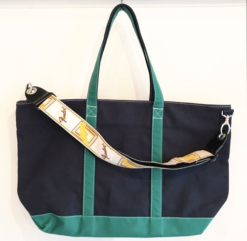 "Strap Tote ""IVY"" (Navy x Green)"