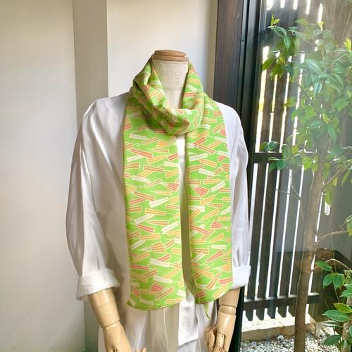 ころもスカーフ 扇子模様 黄緑