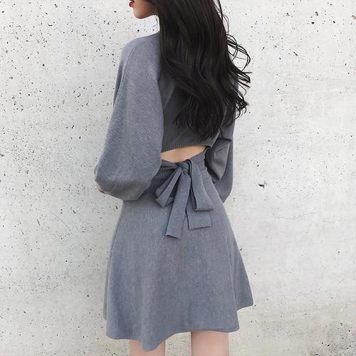 【ワンピース】スウィートリボン透かし彫りファッションデートワンピース24230821