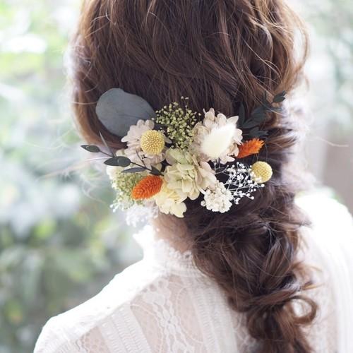 ボタニカルヘッドドレス ✲ ウェディング ブライダル 結婚式 成人式 卒業式 袴 着物 前撮り 髪飾り ヘアパーツ ドライフラワー ユーカリ  かすみ草