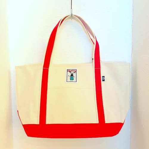 Shabby Color Handle Tote Bag Red