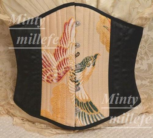mintyミンティーmillefeミルフィー着物帯生地で作ったコルセットボーン最多26本3層帯生地中央フロントLサイズ・ショートタイプ881lux3kimono middle