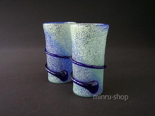 琉球ガラス ペアグラス 泡らせん巻一筆グラスペア 浮出/青 910035 minru-shop|琉球ガラス みんるー商店|