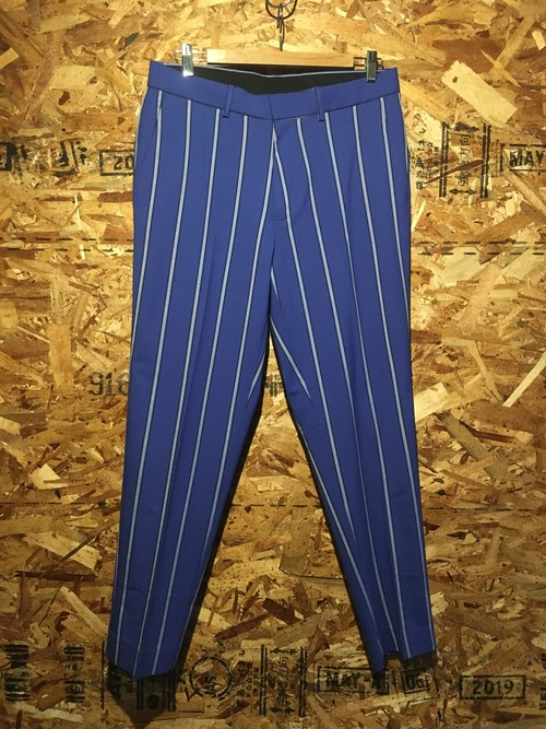 flat front stripe trousers