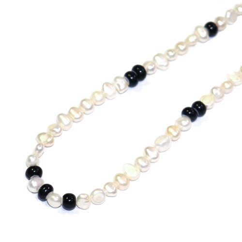 SPARKING Pearl Necklace WHITE × BLACK