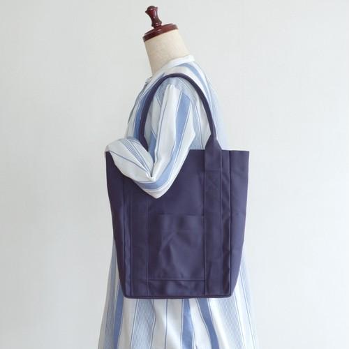 <新色>トートバッグ 02【マチ10㎝】ネイビー / 9号帆布