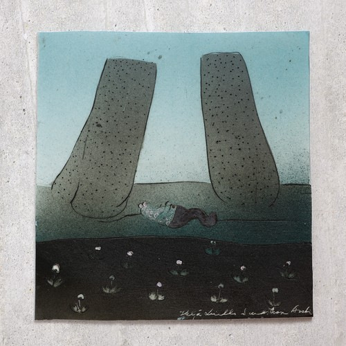 ARABIA アラビア Helja Liukko-Sundstrom ヘルヤ リウッコ スンドストロム 2つの巨石の陶板 北欧ヴィンテージ