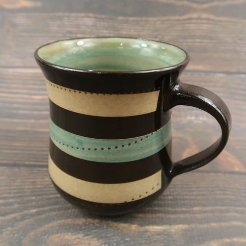 小石原焼 手付きマグカップ 青茶 トビ 鶴見窯