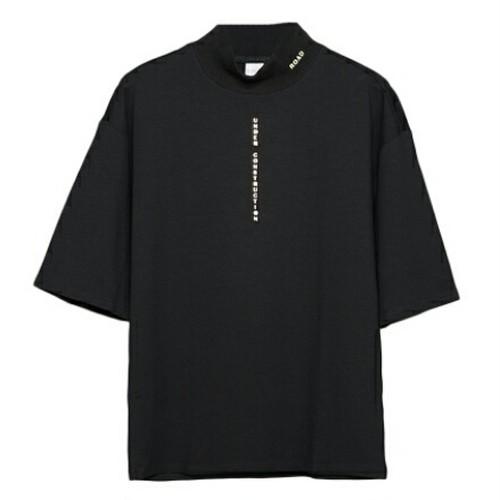 ロゴハイネックTシャツ肩幅広めでラフメンズ2色送料無料