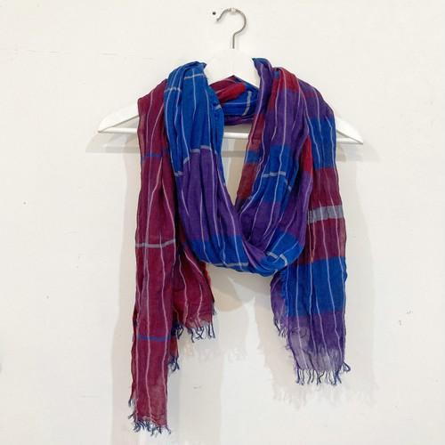 【青いとり】播州織ストール(blue × purple × red)コットンLsize