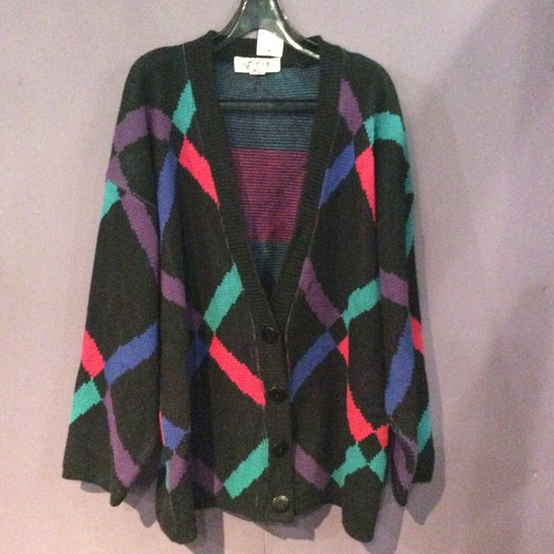 80'S black×colorful knitcardigan[B1490]